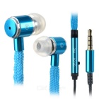 3.5mm Plug Shoelace Style In-Ear Earphone w/ Microphone for Samsung / HTC + More - Light Blue