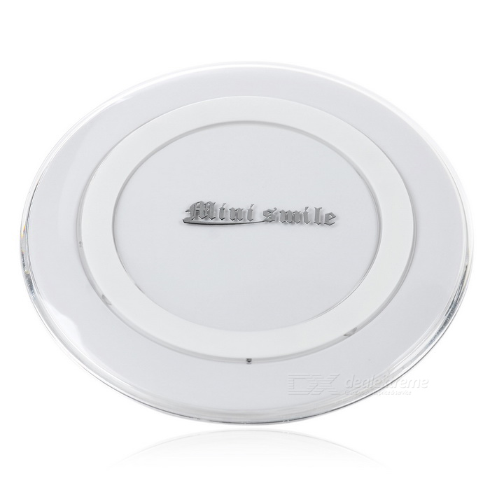 Mini Smile Qi Wireless Charger + Cable for Smartphones - White
