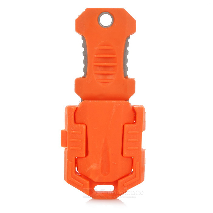 FURA Outdoor Portable Survival Knife w/ Strap + Sawteeth - Orange