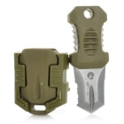 FURA Outdoor Portable Survival Knife w/ Strap + Sawteeth - Army Green