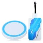 Universal Qi Wireless Transmitter + Receiver Charging Kit for Samsung / HTC / Xiaomi - White + Blue