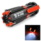 8-in-1 Multifunctional Portable Manual Screwdriver + LED Flashlight Repair Tool - Black + Red