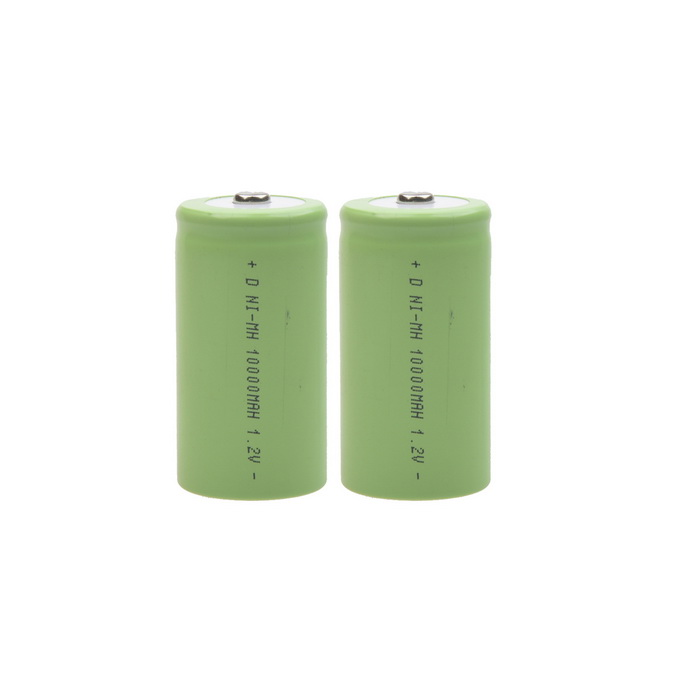 5000mAh 1.2V D-Type Rechargeable NiMH Battery - Green (2pcs)
