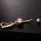 Double Heart-Shaped Belly Button Ring Body Piercing Jewelery - Pink