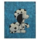 Hand Painted Cute Dog Canvas Art Oil Painting - Blue + White + Black