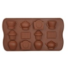 Clock Teapot Style 15-Cup DIY Silicone Chocolate / Cake / Soap Mold - Chocolate
