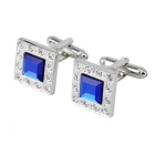 Sapphire Diamond Cuff Links/Buttons (Pair)