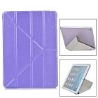Protective PU Cover + TPU Transparent Back Case for IPAD AIR - Purple