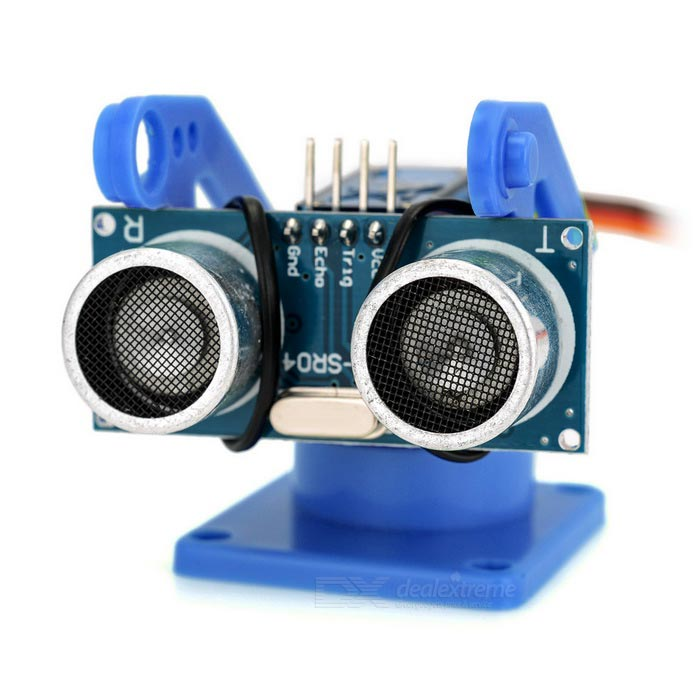 Ultrasonic Distance Measuring Transducer Module Kit w/ 9g Servo - BlueOther Accessories<br>Form ColorBlue + Silver + Multi-ColoredModelN/AQuantity1 DX.PCM.Model.AttributeModel.UnitMaterialABS FR4English Manual / SpecYesDownload Link   http://m5.img.dxcdn.com/CDDriver/CD/sku.133696.pdf Download Link: http://www.ic5188.com/PDF/HC-SR04.rarPacking List1 x Kit (cable length: 25cm±2cm)<br>