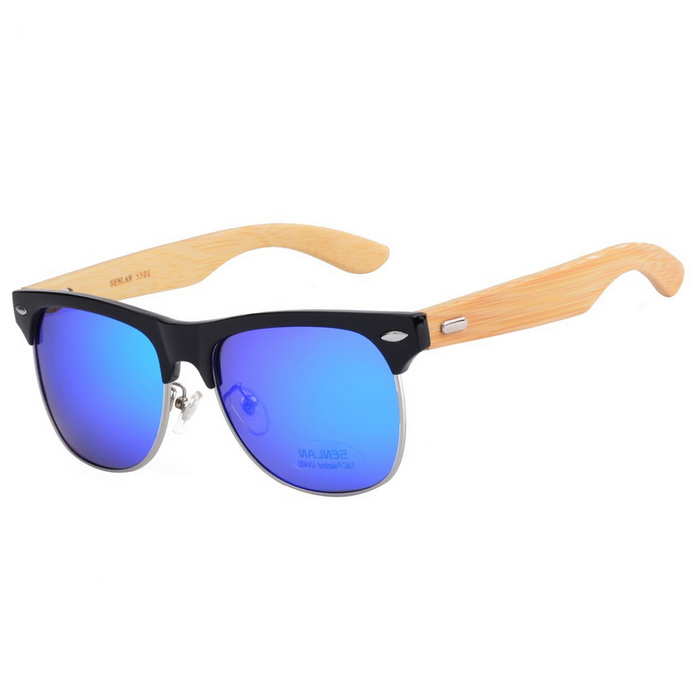 SENLAN Bamboo UV 400 Protection Sunglasses - Black + Wood + Blue