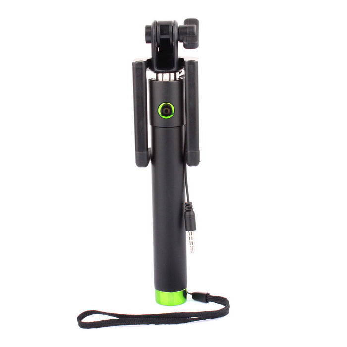 Extendable Mini Plug Drive-by-Wire Monopod for Phone - Green + Black