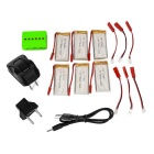 1-to-6 Charger + 750mAh Batteries + Adapter for JJRC H12C - Silver