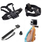 4-in-1 Sports Camera Accessories Kit for GoPro, SJ4000, Xiaoyi - Black