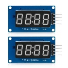 4-Digit Seven-Segment LED Brightness Adjustable Display Module w/ Clock - Blue + Black