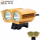 ZHISHUNJIA XM-L T6 2-LED 2000lm 4-Mode White Bicycle Light / Headlamp - Golden (4 x 18650)