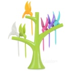 Lovely Tree Birds Design Plastic Fruit Forks + Holder Stand Convenient Home Kitchen Tool - Green
