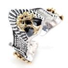 Retro Crown Power Symbol Style Opening Finger Ring for Men - Golden + Silver (US Size: 8)
