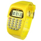 Kids' Stylish Plastic Band Quartz Digital Wrist Watch w/ Calculator, Calendar - Yellow (1 x L1131)