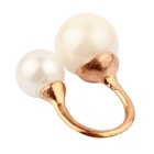 Fashionable Double Big Pearls Finger Ring - Golden + White