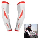 SAHOO Outdoor Cycling Polyester + Spandex Sleeves - White + Red (Pair, XL)