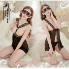 Double-Sided Mesh Sexy Lingerie w/ G-String / Goggles - Black