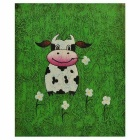 Hand Painted Dairy Cattle Canvas Art Oil Painting - Green + White + Multi-Color