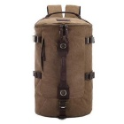 Large-Capacity Outdoor Travel Canvas Double-Shoulder Bag Backpack Handbag - Brown