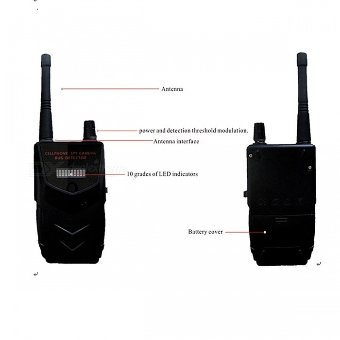 Anti-Spy Signal Bug Detector Wiretap Lens GSM Device Finder - BlackOther Security Products<br>Form ColorBlackModelHS-007MiniMaterialPlasticQuantity1 DX.PCM.Model.AttributeModel.UnitRemote Control Range10 DX.PCM.Model.AttributeModel.UnitBattery included or notYesBattery Number1 x 9V Alkaline 6LR61Power AdaptornoPower AdapterWithout Power AdapterPacking List1 x Host1 x Antenna1 x Battery (9V Alkaline 6LR61)<br>