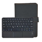 Universal 81-Key Bluetooth V3.0 Keyboard PU Leather Case w/ Touchpad for Tablet 7'' - Black
