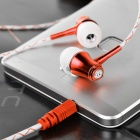 Glow-in-the-Dark Metal Earphone w/ Clip for Phone / Tablet - White+Red