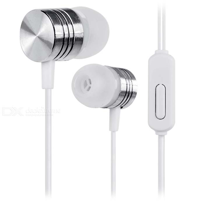in-ear koptelefoon w / clip, kabel control voor iPhone - wit + zilver