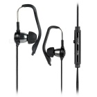 Super Bass In-Ear Earphones w/ Detachable Ear-hook / Microphone / 3.5mm Jack - Black