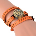 Rivet Montre bracelet quartz analogique 3-rond - orange + bronze (1 * 377)