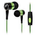 Mini In-Ear Earphones w/ Microphone for IPHONE / IPOD - Black + Green