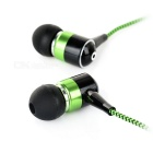 Mini In-Ear Earphones w/ Mic. for IPHONE / IPOD - Black + Green