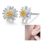 eQute Women's Fashionable Daisy Flower Style Silver Plated Ear Studs Earrings - Silver (Pair)