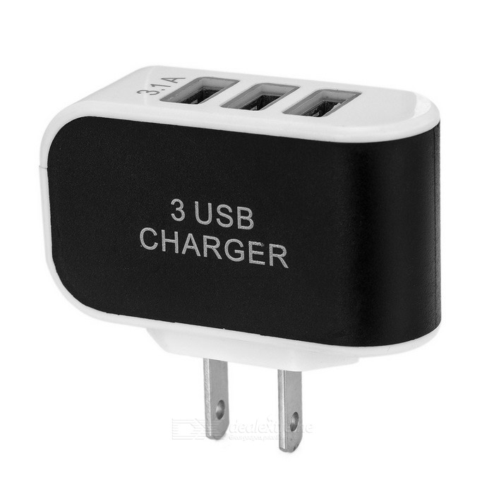 Universal 5V 3.1A USB 3-Port US Plugss Power Charger - White + Black