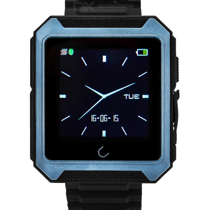 "Uwatch 1.6"" Touch Screen Waterproof Bluetooth V4.0 Smart Watch w/ Pedometer - Black + Deep Blue"