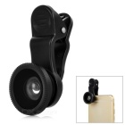 Universal Clip + 180 Degree Fish Eye Lens + 30X Macro Lens Set for Smartphones - Black