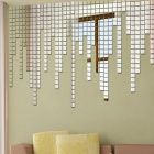 Room Acrylic Mirror Tiles Wall Stickers - Silver (100PCS)