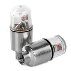 0.2W F5 LED Car Valve Core Nozzle Lamps Blue Light 490nm 35lm - White + Silver (1.5V / 2 PCS)
