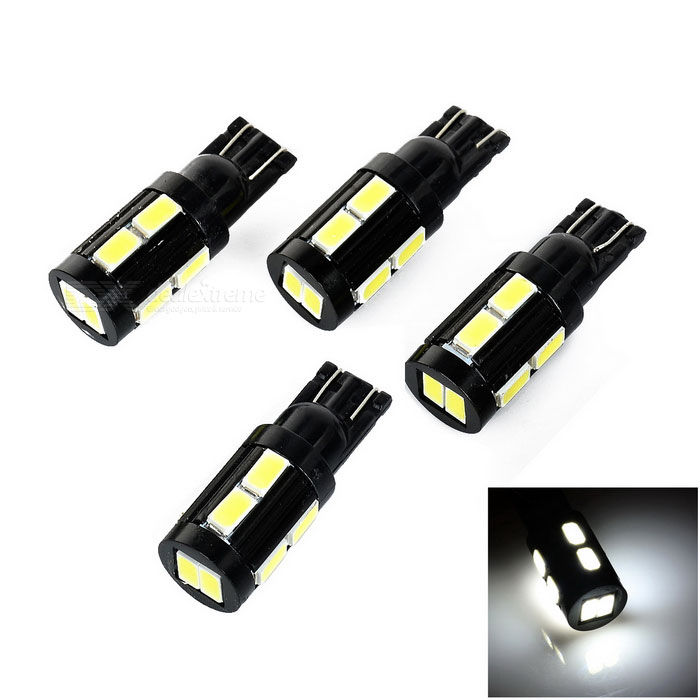 T10 1W Car LED Bulbs Cold White 35lm SMD 5730 - Black + Yellow (4PCS)