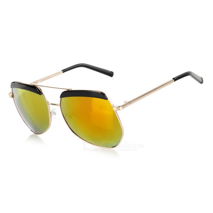 Fashionable UV400 Protection Resin PC Lens Sunglasses - Golden + Red