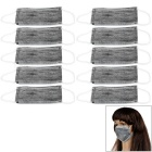 4-Layer Non-woven Disposable Activated Carbon Dustproof Mouth Mask - White + Grey