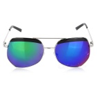 Fashionable UV400 Protection Resin PC Lens Sunglasses - Silver + Blue