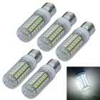 JIAWEN E27 9W LED Corn Bulb Lamp White Light 6500K 900lm 56-SMD 5730 - White (AC 220V / 5pcs)