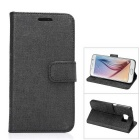 MO.MAT Protective PU Leather Wallet Case w/ Stand & Card Slots for Samsung Galaxy S6 - Black