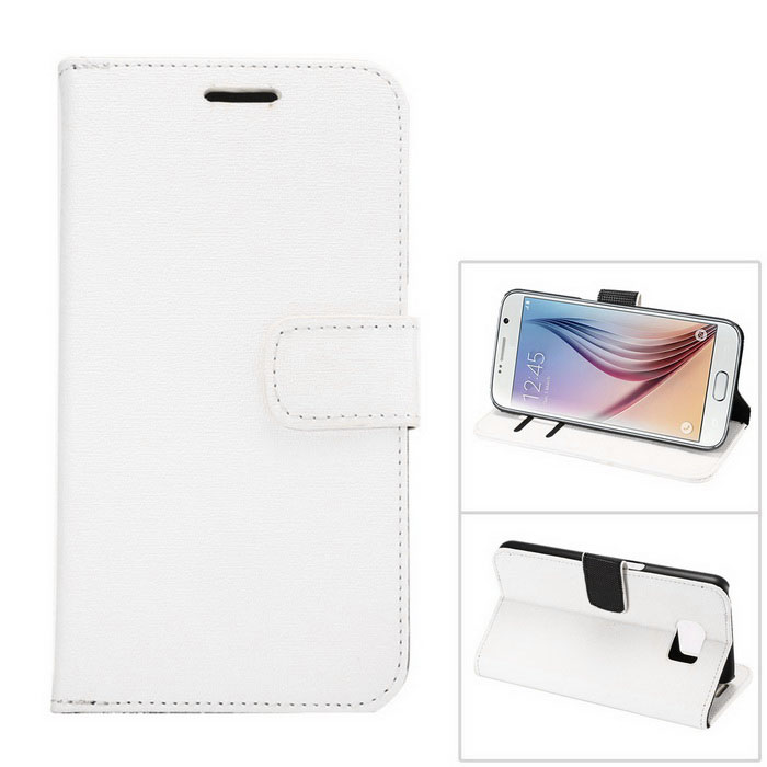 PU Wallet Case w/ Stand & Card Slots for Samsung S6 - White