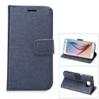 MO.MAT Protective PU Leather Wallet Case w/ Stand & Card Slots for Samsung Galaxy S6 - Blue