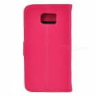 PU Wallet Case w/ Stand & Card Slots for Samsung S6 - Deep Pink